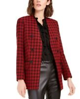 Bar III Women's Houndstooth Double-Breasted Blazer Jacket, Red, Size S, $139