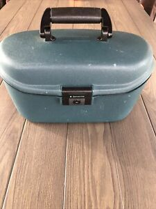 Vintage 90's Samsonite Oyster Hard Shell Travel/Beauty Case Blue/Green With Key