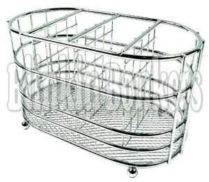 CUTLERY HOLDER SILVER CHROME TO DRY DRAINER CADDY STAND RACK SINK TIDY ORGANISER