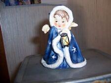 W Goebel Germany Angel With Lantern Figurine Blue Coat