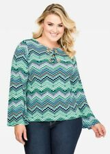 Ashley Stewart Womens Size 14/16 Lace Up Blouse Green Long Sleeve NEW