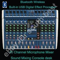 Pro 10 Channel Bluetooth Live Studio Audio Mic Mixer Mixing Console DSP Effects