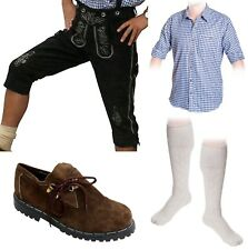 5-teiliges Trachtenset * schwarz * A Trachtenlederhose Träger,Schuhe,Hemd,Socken