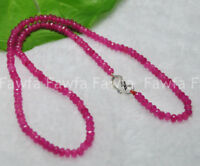 Fine 2x4mm Rose Ruby Faceted Roundel Gems Beads Necklace Silver Clasp AAA+