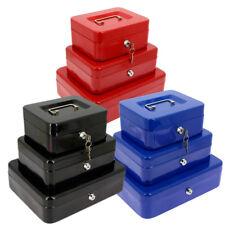 High Security Key Lockable Steel Metal Safe Bank Deposit Cash Box Tin & Tray