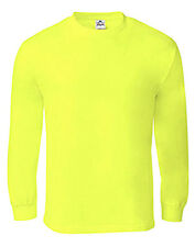 New Mens AAA High Visibility Neon Green Plain Safety Working Long Sleeve T-Shirt
