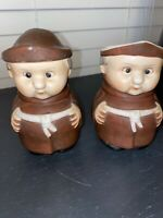 Vintage Friar Tuck Monk Sugar and Creamer Set- Preowned- 4""