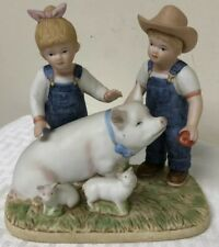 Denim Days Home Interiors & Gifts by Homco Vintage Prize Pig Figurine 1985 #8813