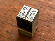 Antique All Metal Printers Block Ornate Storybook Style Letter I