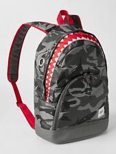 GAP KIDS BOYS GIRLS BACKPACK SCHOOL SHARK GRAY RED NEW