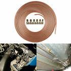 14 Brake Line Tubing 25ft Coil Roll Repair Tube 16 Fitting Kit Plated Copper