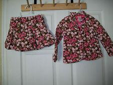 Gymboree PRIMROSE Girls Pink & Brown Floral Corduroy Blazer Jacket & Skirt 3 3T