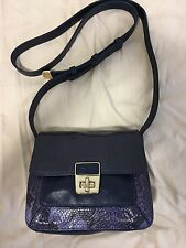 New listing Cole Haan Blue Leather Reptile Crossbody Handbag