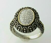 Natural Diamond Oval Ring in Sterling Silver Two Tone Sz 6.5  #51