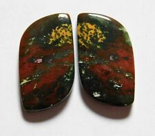 27.15 Natural Blood Stone (27mm X 14mm each) Cabochon Match Pair
