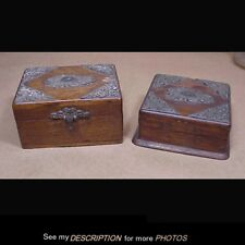 2 Antique 1890-1910 Victorian Oak Vanity Dresser Boxes Fancy Metal Applique