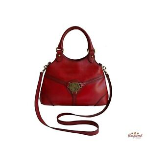 Authentic GUCCI Vintage Interlocking Red Leather Reins Hobo 2-Way Bag 114873
