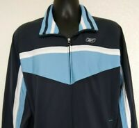 Reebok Men's L Track Jacket Full Zip White Blue