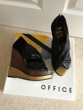 BNWB, Black, brown & gold, leather wedge heels, from Office, Uk size 4, 37