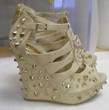 """Daria Skintone/Gold Spikes 5"""" High Wedge Heel 1.5"""" Platform Sexy Shoes Size 8"""