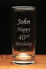 Personalised text engraved glass large hi ball gift boxed present