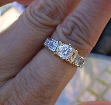 .70ct Center .60ct accent engagement ring 14k YG 2 tone gold