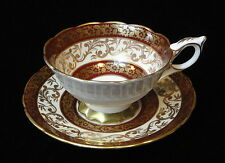 Royal Stafford BUCKINGHAM Bone China England TEA CUP & SAUCER Cranberrry & GOLD