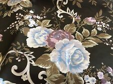 BLACK WITH MAUVE & BLUE GRAY FLORAL TAFFETA HOME DEC WEIGHT-58W- BY THE YARD