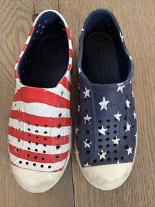 Native Jefferson Water Shoes Size 1 Little Kids Stars Stripes