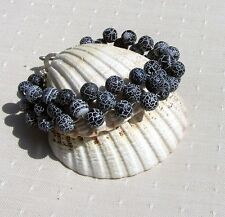 "Frosted Black Agate Crystal Gemstone Woven Beaded Cuff Bracelet ""Twilight Frost"""