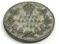 1931 Canada 10 Ten Cent Silver Dime Canadian Circulated George V Coin J324