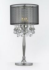 Silver Mist 3 Light Chrome Crystal Table Lamp w/ Black Shade Contemporary Modern