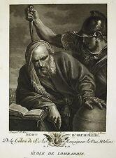 """P. F. Mola """" Mort D'Archimede """" Gravure  Morace Ed J Couché 1786"""