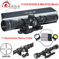 AIM Mosin Nagant 2-7x32 Long Eye Relief Scope + M44 M91 30 Scout Mount Package