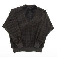 Vintage Houndstooth Patterned Velour Velvet Pullover Sweater | Womens L