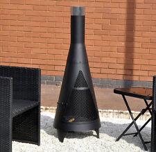 BLACK STEEL TOWER chiminea Firepit DA ESTERNI GIARDINO PATIO FUOCO BARBECUE
