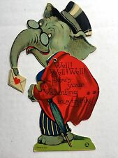 1930s Valentine's Day Card w/ Elephant in Top Hat and Mechanical Moving Head