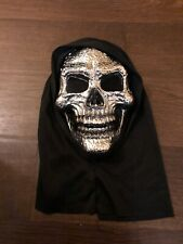 Halloween Mask, Adult Size, Hooded Silver Skeleton, Tesco