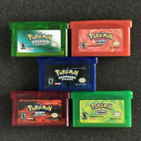 5PCS GBM/GBA/SP/NDS Game Card Pokemon Emerald/Sapphire/FireRed/LeafGreen/Ruby