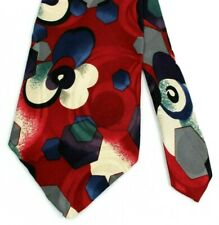Bellini New York Milan NeckTie Floral Abstract Red/Whie/Blue Silk USA A107