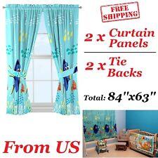 Finding Dory Curtains Disney Blue Microfiber Window 2 Curtain Panels Tie Pixar