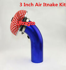 """3"""" INCH BLUE PIPING TURBO SHORT RAM COLD AIR INTAKE INDUCTION PIPE+FILTER KIT"""