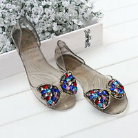 Women's Color Diamante Bow Jelly Flats Sandals Clear Summer Beach Party Shoes