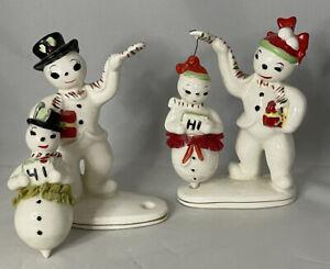 Christmas Boy & Girl Snowmen Ucagco Twirling Firgurines