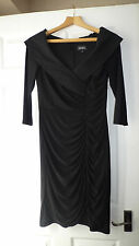 Absolutely stunning Adrianna Papell UK10 black stretchy dress large collar