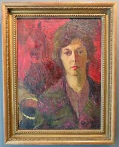 AVRIL BLAMIRE GILMORE (-2019) original Scottish OIL PAINTING Portrait Of A Lady