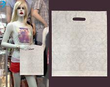 100x White  Heena Flower BAG Patch Handle Plastic Carrier Designer Bag Medium