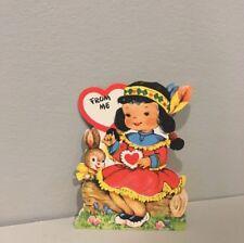 Vintage Valentine Card Pretty Little Girl Bunny Rabbit Indian Maiden 50s Gibson