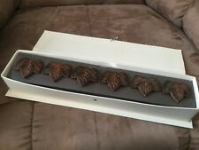 POTTERY BARN MAPLE LEAF NAPKIN RINGS SET OF 6 WITH ORIGINAL BOX