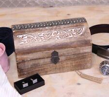 saravati bois de mangue coffre boite de rangement Citron Vert LAVE finir métal
